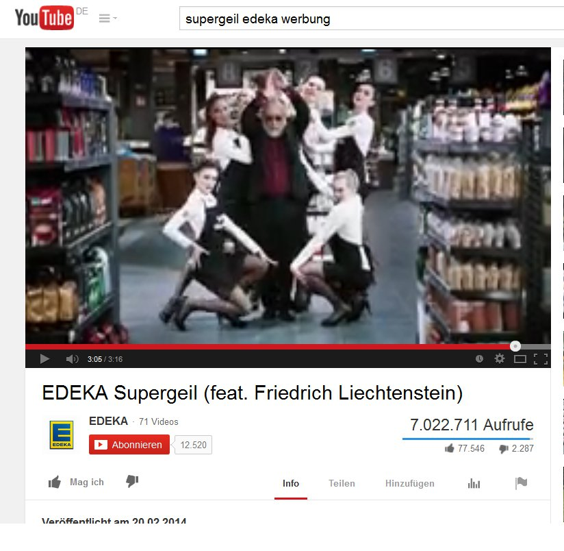 "YouTube-Video ""Supergeil"" von Edeka"