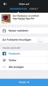 """In meinem Beispiel habe ich mich dafür entschieden, mein Foto auch über Facebook zu teilen. In diesem Fall muss ich nicht einmal mein Passwort eingeben. Bei Twitter und anderen Netzwerken aber schon. Abschließend drücke ich auf """"Teilen""""."""