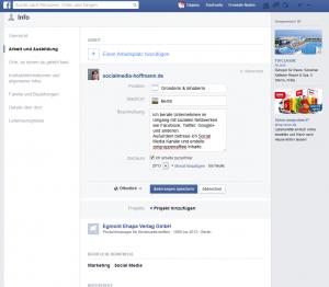 Einstellungen des Facebook-Profils