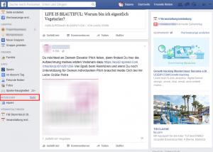 """Klicken Sie in der linken Leiste bei """"INTERESSEN"""" auf den """"Mehr""""-Link. Dadurch öffnet sich ein neues Fenster, in dem Sie Einstellungen vornehmen können."""