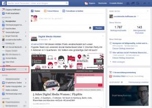 """Ihre persönliche Merkliste wird von Facebook """"Gespeichert"""" genannt. Sie finden sie in der linken Leiste unter den Favoriten. Die Zahl rechts verrät Ihnen, wie viele Beiträge sie neu gespeichert haben."""